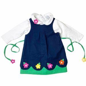 Florence Eiseman navy flower dress set